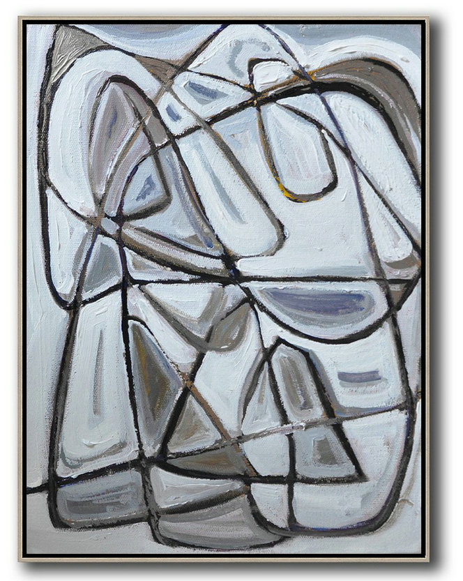 Large Abstract Painting,Vertical Contemporary Art,Canvas Artwork For Sale Grey,Brown,White,Black