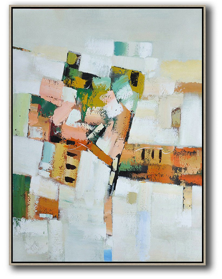 Large Abstract Art,Vertical Palette Knife Contemporary Art,Size Extra Large Abstract Art Grey,White,Yellow,Orange,Pink