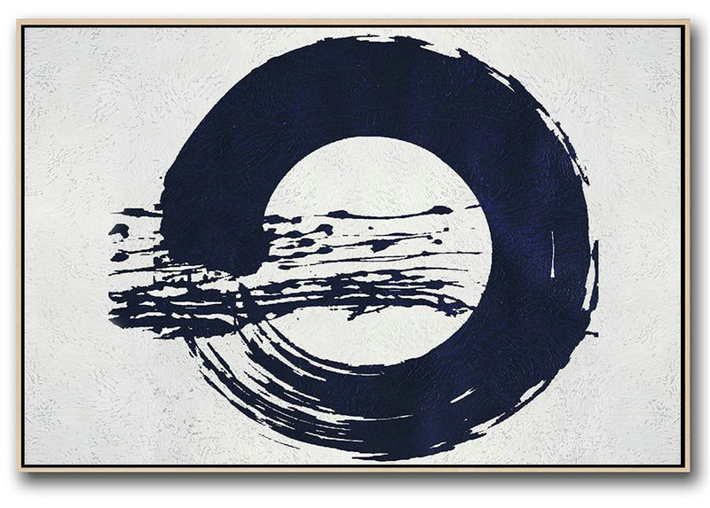 Modern Abstract Wall Art,Horizontal Abstract Painting Navy Blue Minimalist Painting On Canvas,Original Abstract Painting Canvas Art #E6Y2