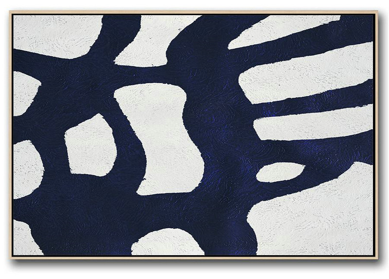 Abstract Painting For Home,Horizontal Abstract Painting Navy Blue Minimalist Painting On Canvas,Decorating A Big Living Room #F0V6