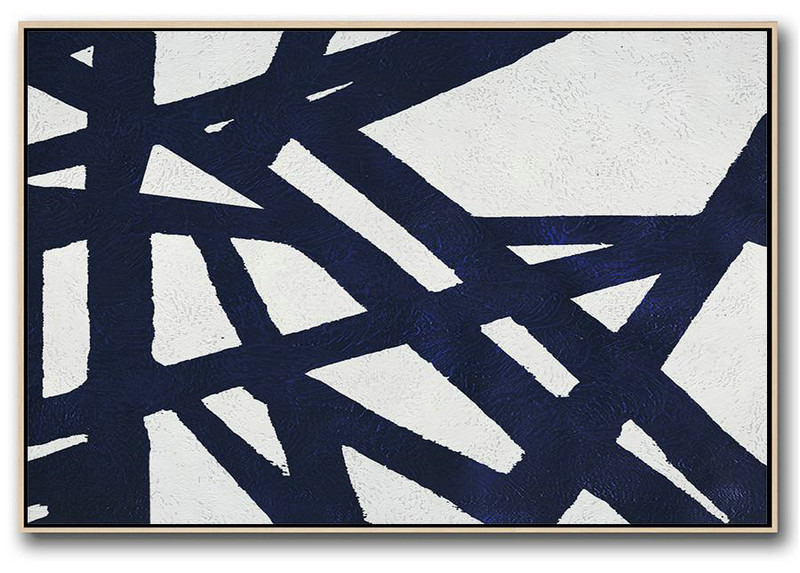 Abstract Art Decor Large Canvas Painting,Horizontal Abstract Painting Navy Blue Minimalist Painting On Canvas,Abstract Paintings On Sale #L1T8