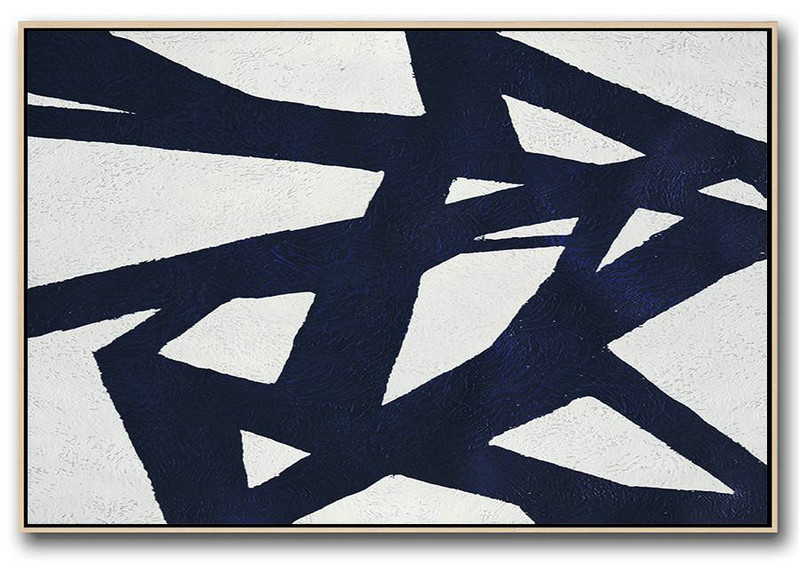Abstract Art On Canvas,Horizontal Abstract Painting Navy Blue Minimalist Painting On Canvas,Original Abstract Oil Paintings #U2N6