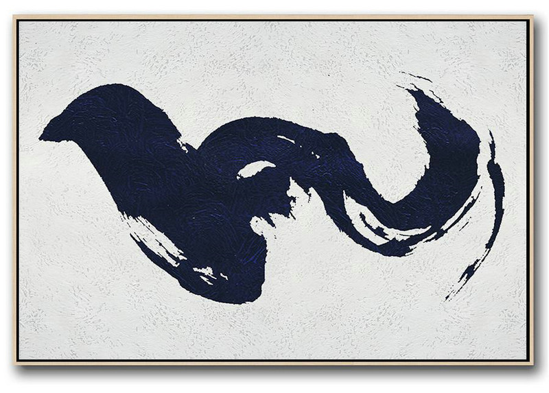 Modern Art Abstract Painting,Horizontal Abstract Painting Navy Blue Minimalist Painting On Canvas,Hand Painted Acrylic Painting #U6Q3