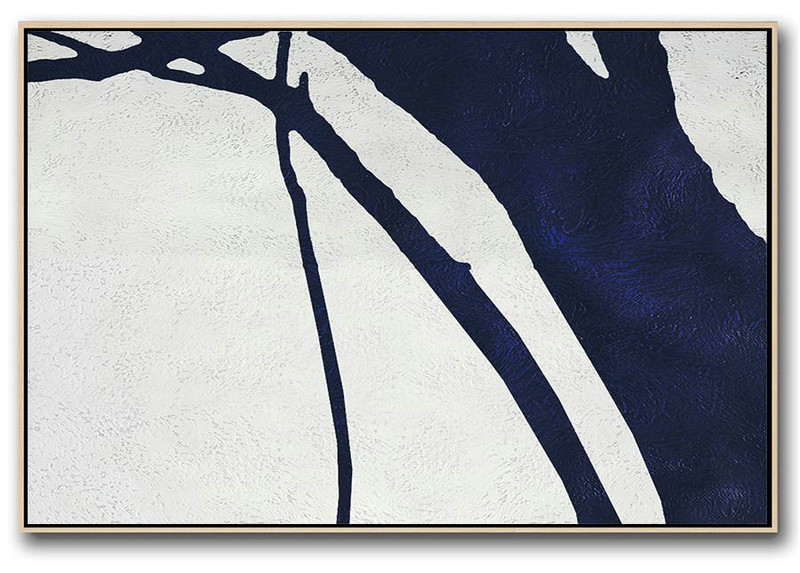 Large Wall Art Home Decor,Horizontal Abstract Painting Navy Blue Minimalist Painting On Canvas,Large Canvas Art #L7X8