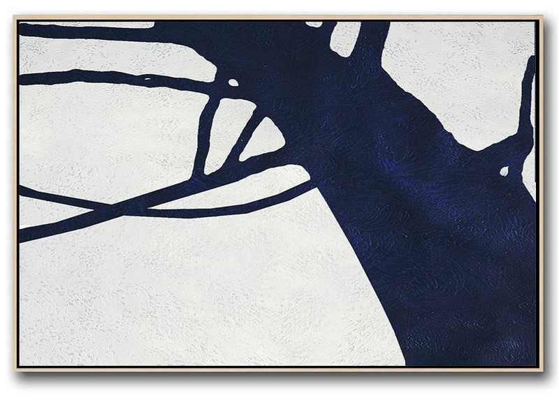 Living Room Wall Art,Horizontal Abstract Painting Navy Blue Minimalist Painting On Canvas,Horizontal Navy Painting Abstract Minimalist Art On Canvas #J6Q4