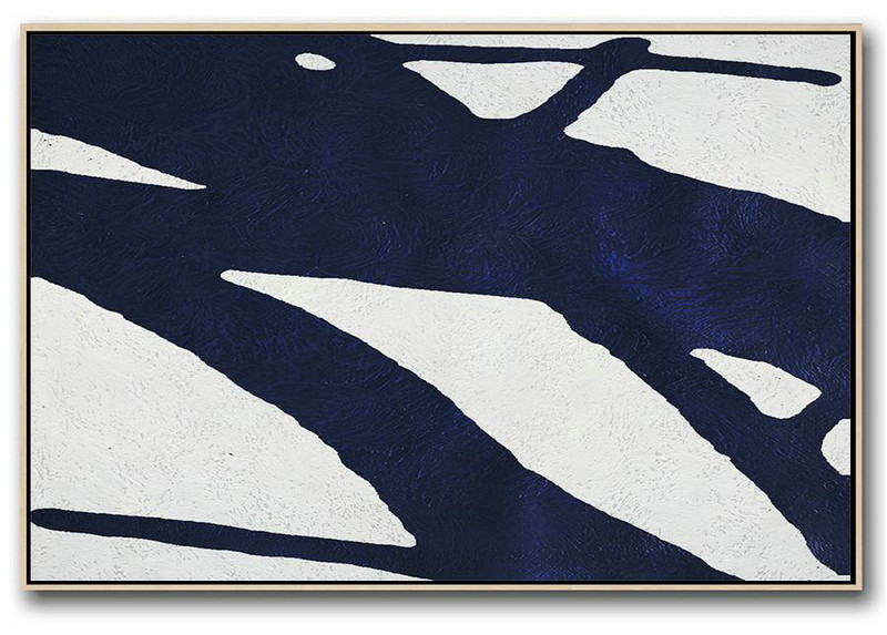 Giant Canvas Wall Art,Horizontal Abstract Painting Navy Blue Minimalist Painting On Canvas,Horizontal Abstract Painting Navy Blue Minimalist Painting On Canvas #R6F1