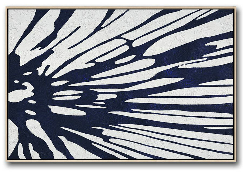Large Modern Abstract Painting,Horizontal Abstract Painting Navy Blue Minimalist Painting On Canvas,Acrylic Painting On Canvas #Z8L0