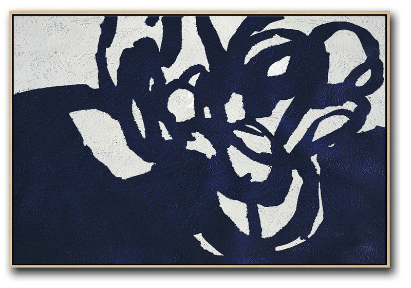 Abstract Painting Extra Large Canvas Art,Horizontal Navy Painting Abstract Minimalist Art On Canvas,Original Art Acrylic Painting #G0T9