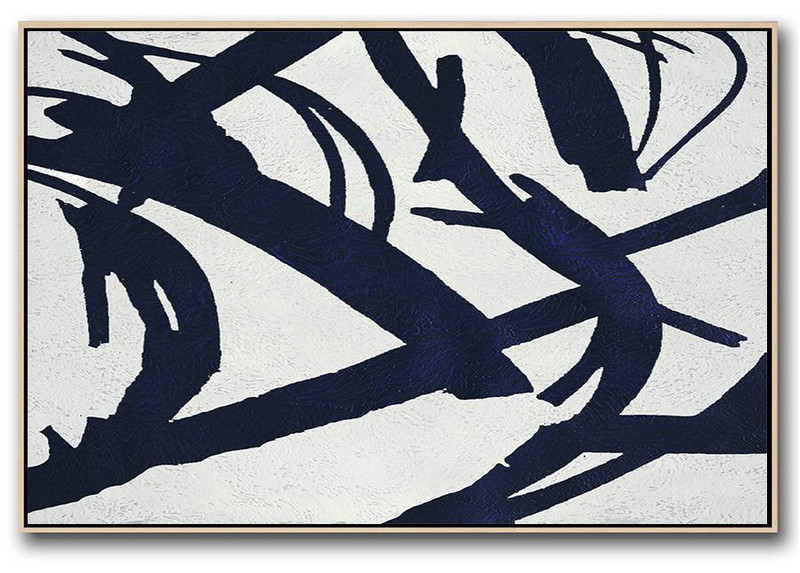 Big Living Room Decor,Horizontal Navy Painting Abstract Minimalist Art On Canvas,Large Contemporary Painting #P5U8