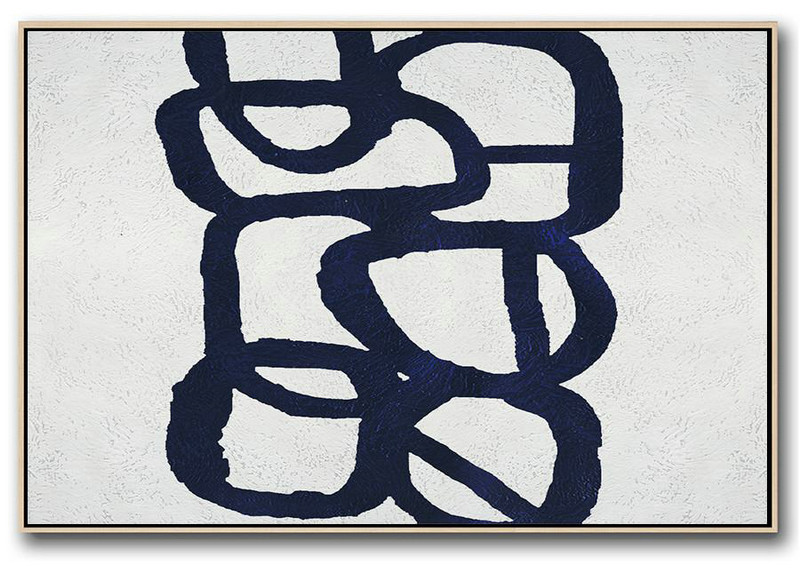 Oversized Art,Horizontal Navy Painting Abstract Minimalist Art On Canvas,Acrylic Painting Large Wall Art #S9V8