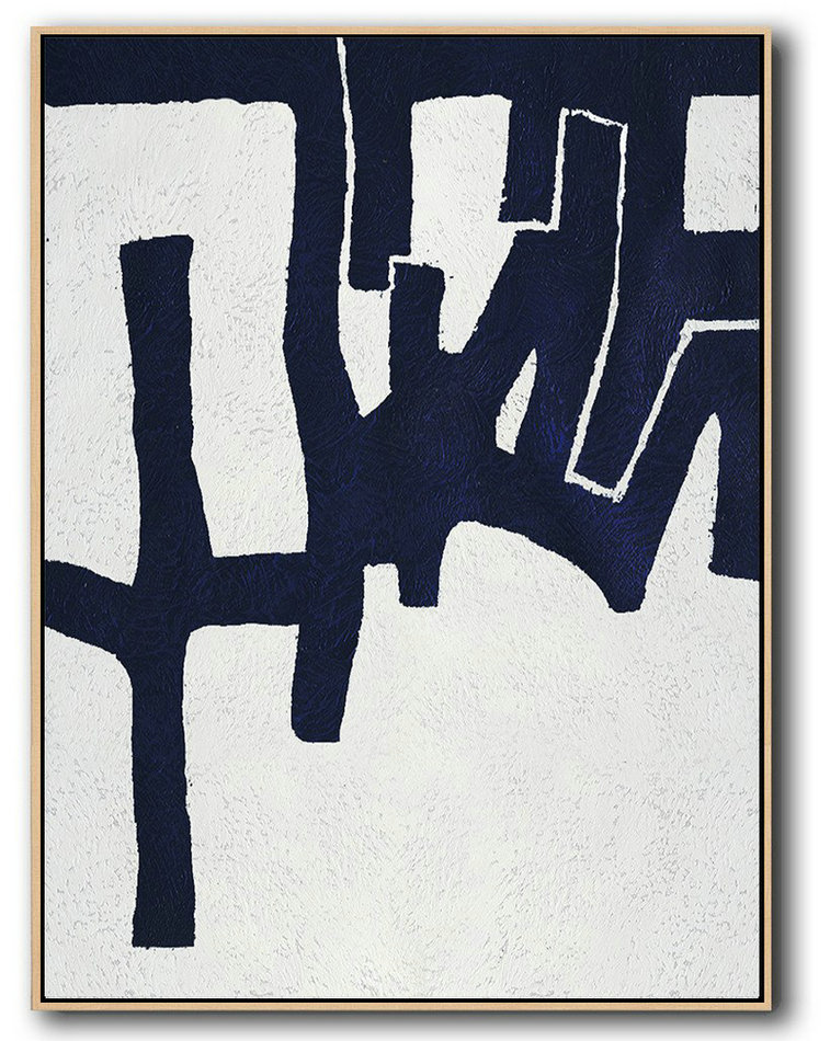 Extra Large Painting,Buy Hand Painted Navy Blue Abstract Painting Online,Art Work #H5X3