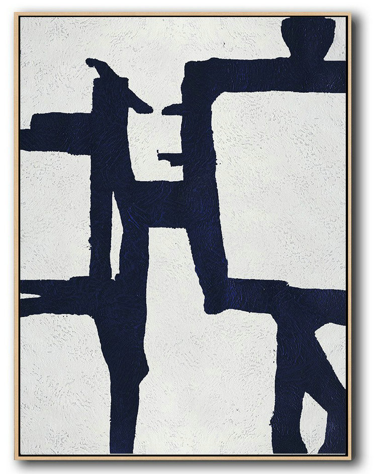 Hand Painted Extra Large Abstract Painting,Buy Hand Painted Navy Blue Abstract Painting Online,Large Abstract Wall Art #K6S7
