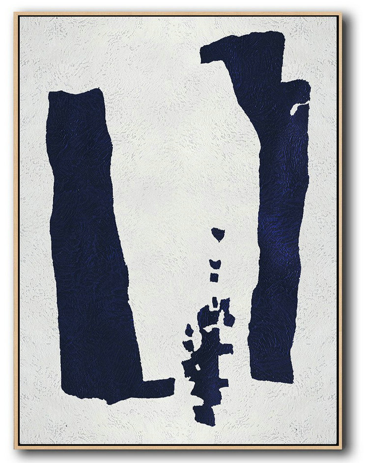 Large Abstract Art,Buy Hand Painted Navy Blue Abstract Painting Online,Modern Canvas Art #N5H1