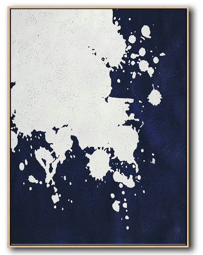 Large Abstract Painting,Buy Hand Painted Navy Blue Abstract Painting Online,Xl Large Canvas Art #K3Z9