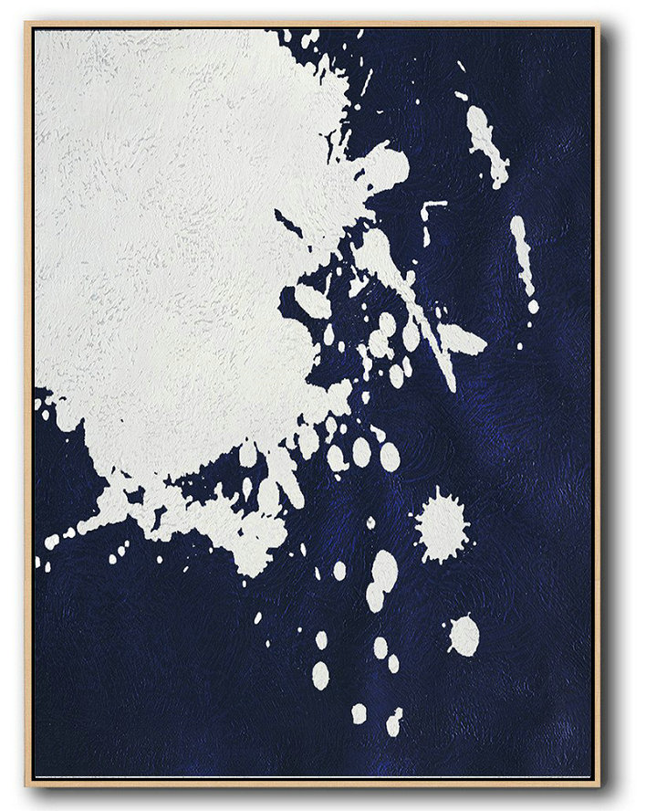 Large Abstract Art,Buy Hand Painted Navy Blue Abstract Painting Online,Acrylic Painting Canvas Art #Q7N1