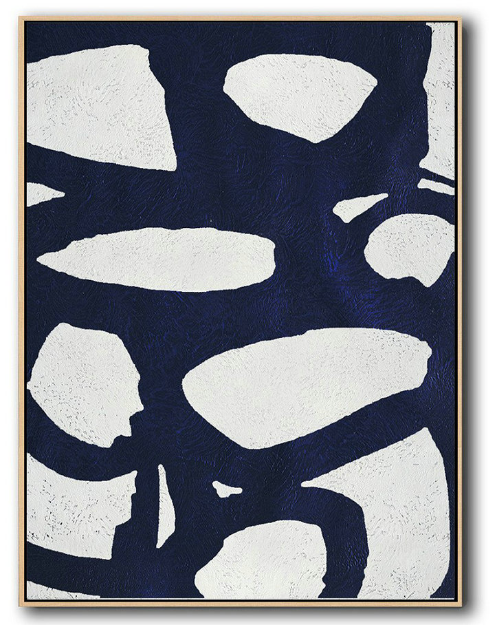 Canvas Paintings For Sale,Buy Hand Painted Navy Blue Abstract Painting Online,Large Wall Art Canvas #P7V7
