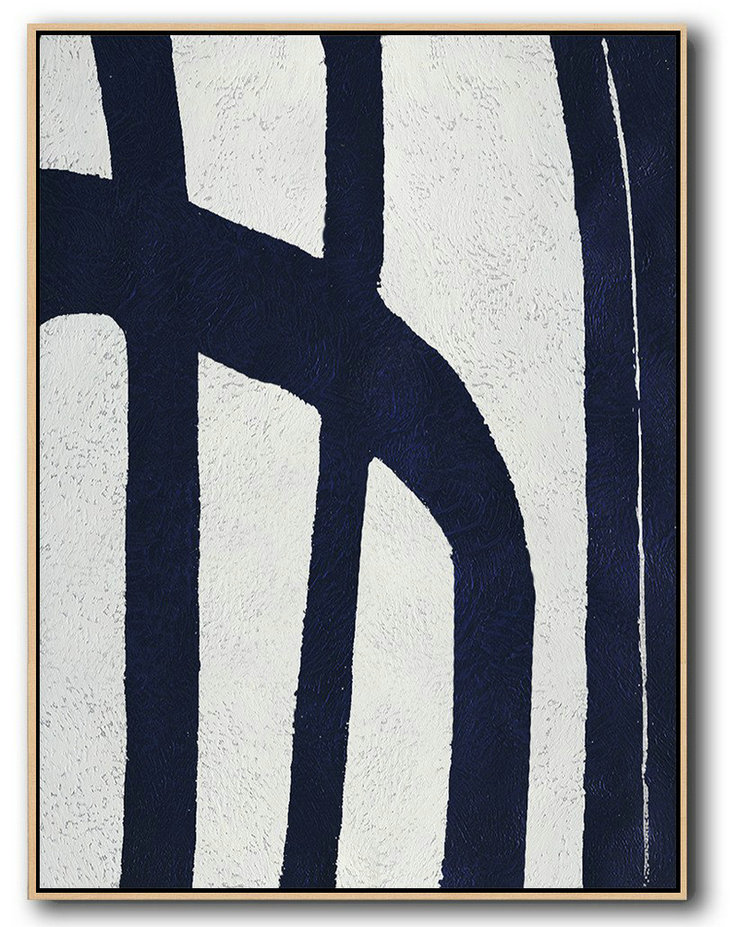 Abstract Oil Painting,Buy Hand Painted Navy Blue Abstract Painting Online,Large Canvas Wall Art For Sale #O7Q6