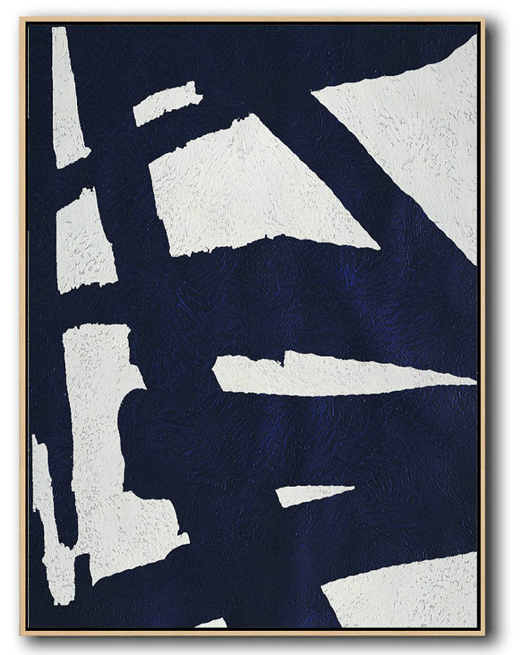 Large Abstract Art Handmade Painting,Buy Hand Painted Navy Blue Abstract Painting Online,Acrylic Minimailist Painting #E9H1