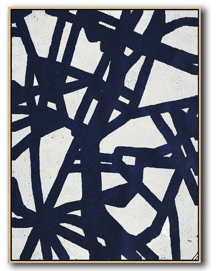 "Extra Large 72"" Acrylic Painting,Buy Hand Painted Navy Blue Abstract Painting Online,Textured Painting Canvas Art #Z5M5"
