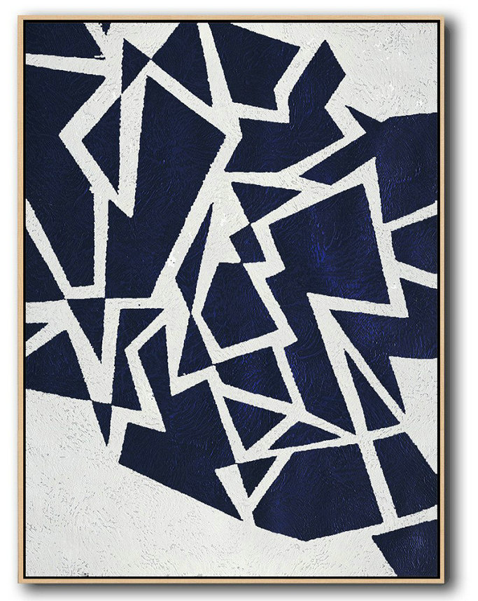 Abstract Painting Extra Large Canvas Art,Buy Hand Painted Navy Blue Abstract Painting Online,Size Extra Large Abstract Art #G9N2