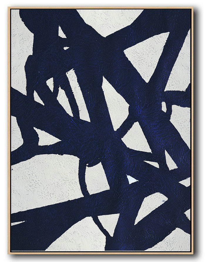 Extra Large Acrylic Painting On Canvas,Buy Hand Painted Navy Blue Abstract Painting Online,Original Art Acrylic Painting #Y8J3