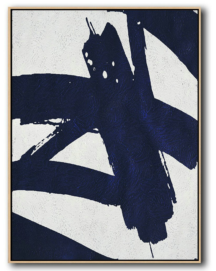 Hand Painted Extra Large Abstract Painting,Buy Hand Painted Navy Blue Abstract Painting Online,Hand Painted Abstract Art #D8U6