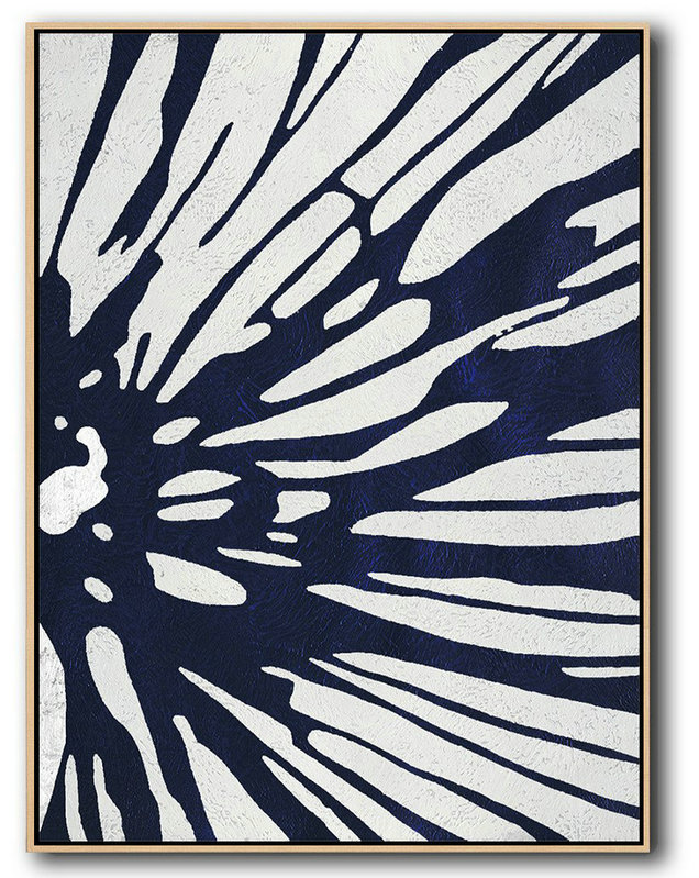 Extra Large Canvas Art,Buy Hand Painted Navy Blue Abstract Painting Online,Abstract Painting On Canvas #T3C8