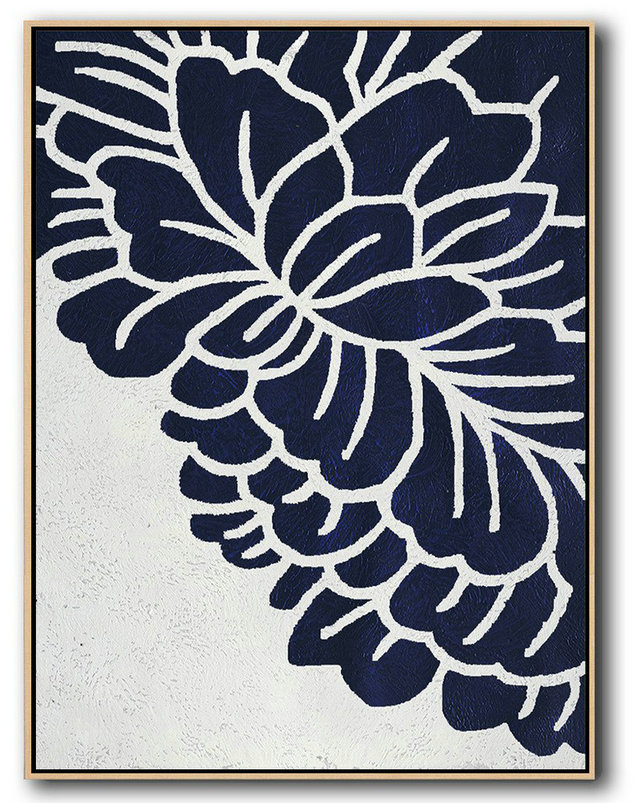 Extra Large Painting,Buy Hand Painted Navy Blue Abstract Painting Online,Large Wall Art Canvas #J4K7