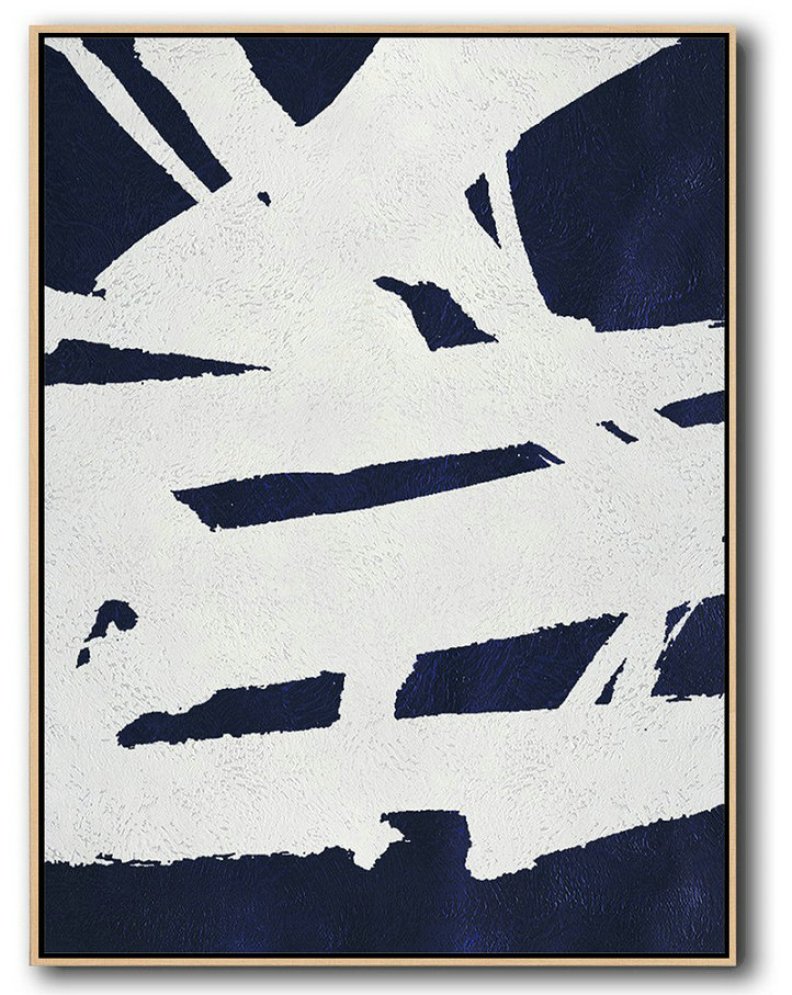 Hand Painted Extra Large Abstract Painting,Buy Hand Painted Navy Blue Abstract Painting Online,Huge Abstract Canvas Art #F8T5