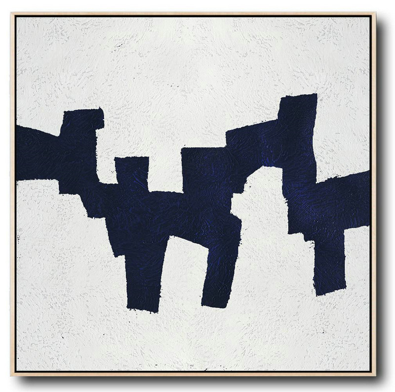Large Abstract Painting On Canvas,Hand Painted Navy Minimalist Painting On Canvas,Large Wall Canvas #D3R4