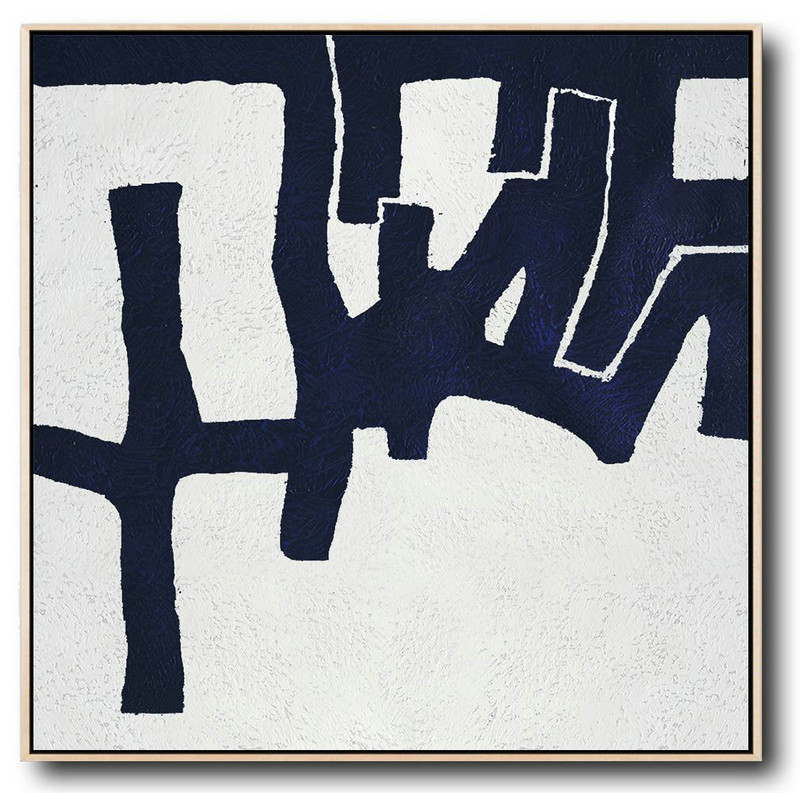 Extra Large Painting,Hand Painted Navy Minimalist Painting On Canvas,Huge Canvas Art On Canvas #Z9Z8