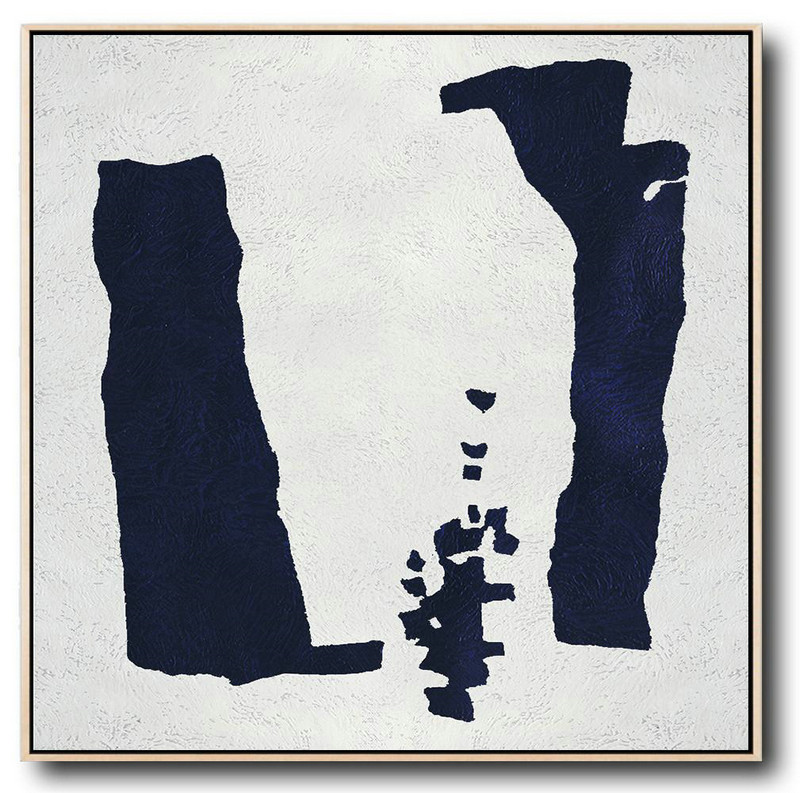 Large Abstract Art,Hand Painted Navy Minimalist Painting On Canvas,Large Wall Art Canvas #K2F7