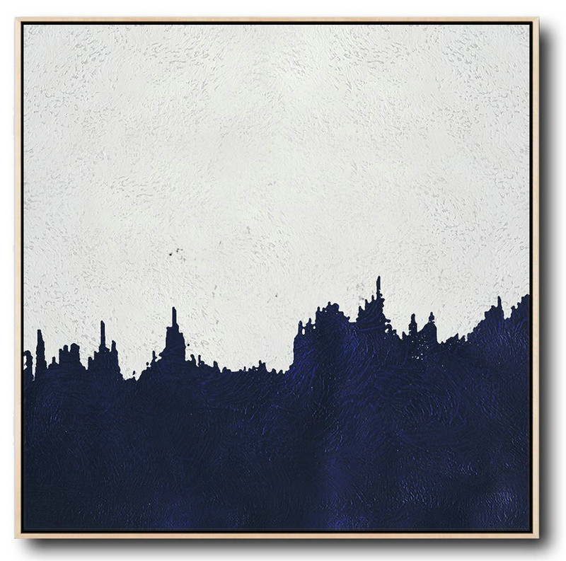 Extra Large Textured Painting On Canvas,Hand Painted Navy Minimalist Painting On Canvas,Giant Canvas Wall Art #K4Q0