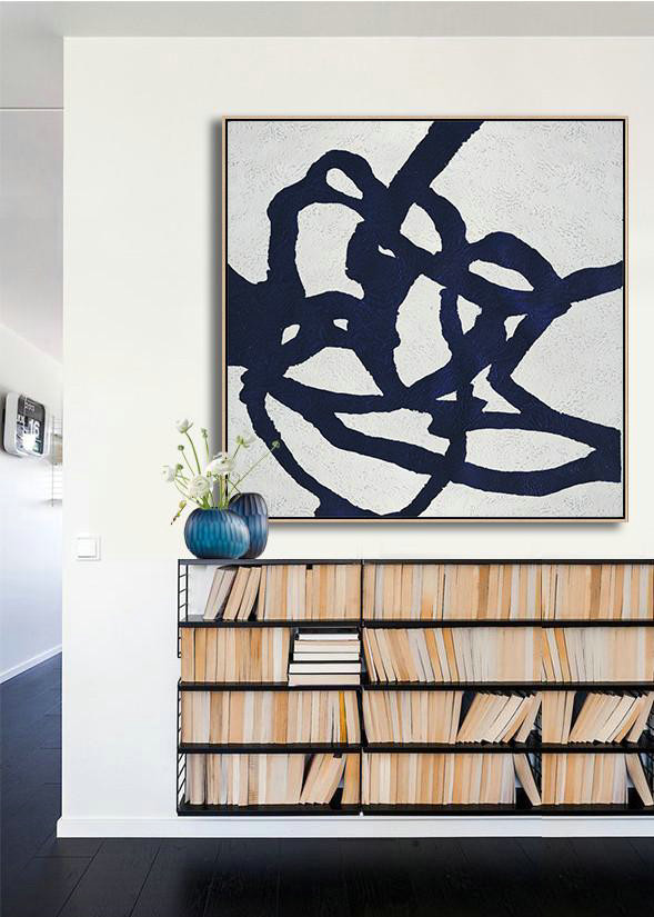 Abstract Painting Extra Large Canvas Art,Hand Painted Navy Minimalist Painting On Canvas,Modern Living Room Decor #H8D7