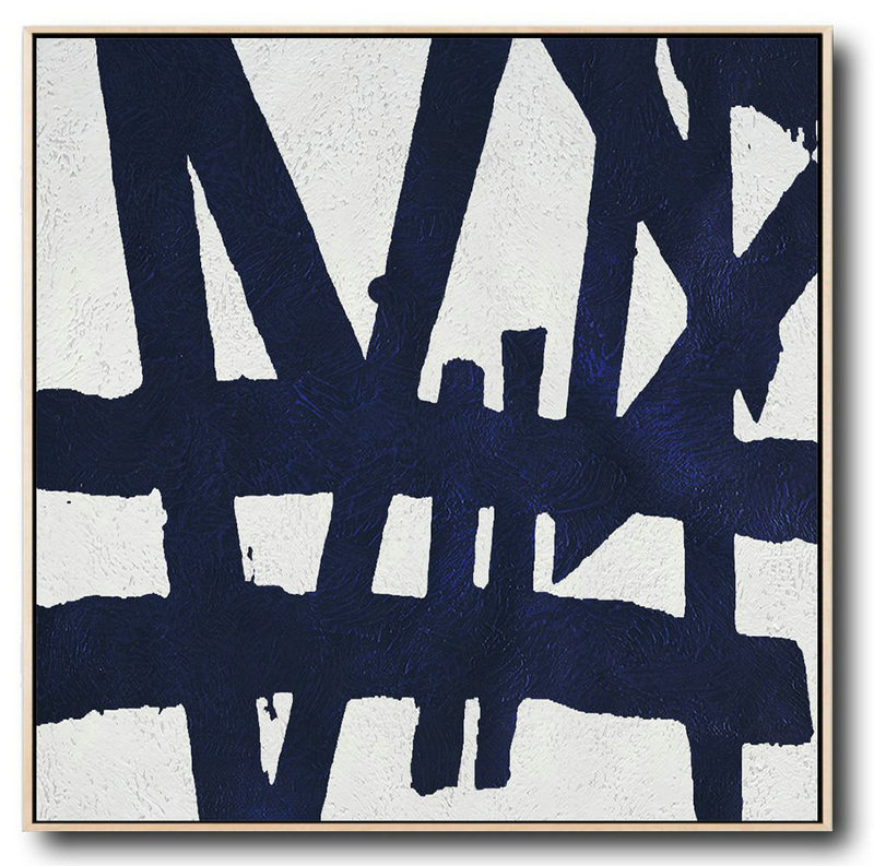 Handmade Large Contemporary Art,Hand Painted Navy Minimalist Painting On Canvas,Big Wall Art For Living Room #C4M0