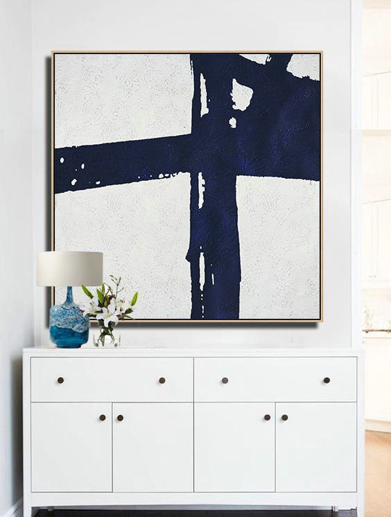 "Extra Large 72"" Acrylic Painting,Hand Painted Navy Minimalist Painting On Canvas,Contemporary Artwork #W8A5"