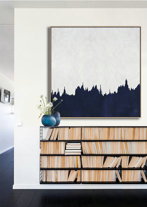 Hand Made Abstract Art,Hand Painted Navy Minimalist Painting On Canvas,Contemporary Abstract Painting #V7P3