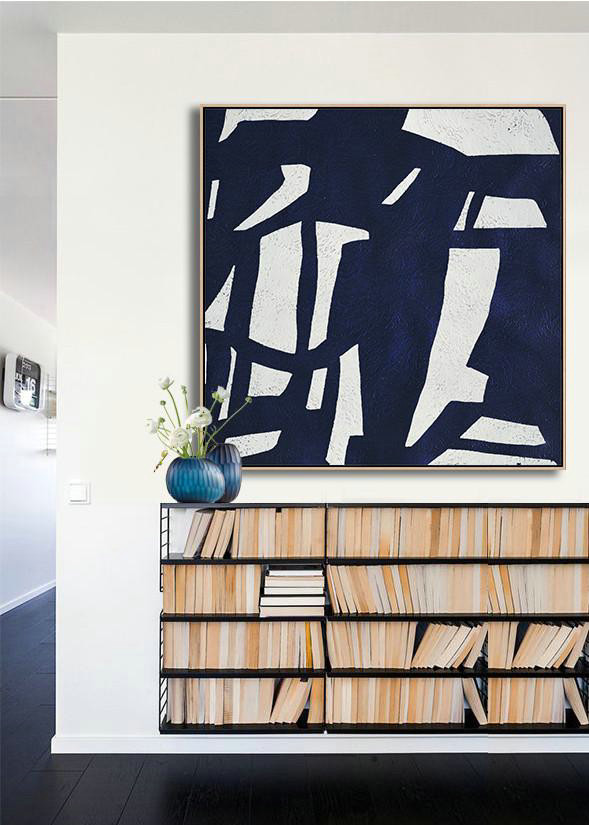 Abstract Painting Extra Large Canvas Art,Hand Painted Navy Minimalist Painting On Canvas,Extra Large Canvas Art #P8D3