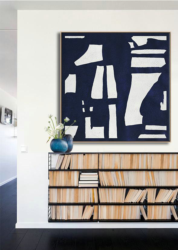 Large Contemporary Art Acrylic Painting,Hand Painted Navy Minimalist Painting On Canvas,Abstract Art Decor #P2B6