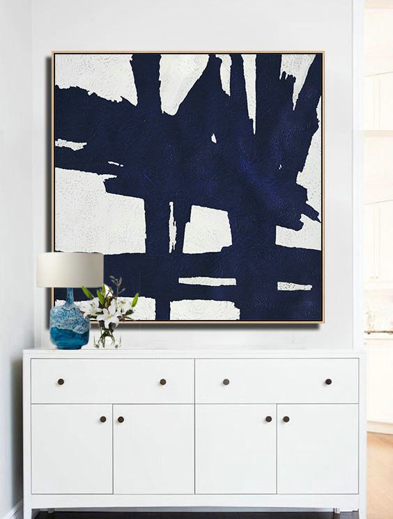 Abstract Painting Extra Large Canvas Art,Hand Painted Navy Minimalist Painting On Canvas,Hand Paint Abstract Painting #B8K1 - Click Image to Close