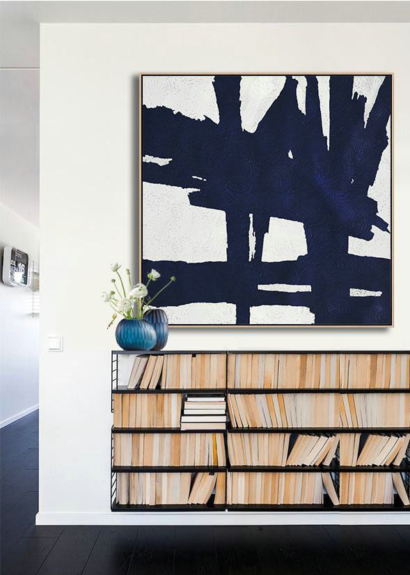 Abstract Painting Extra Large Canvas Art,Hand Painted Navy Minimalist Painting On Canvas,Hand Paint Abstract Painting #B8K1