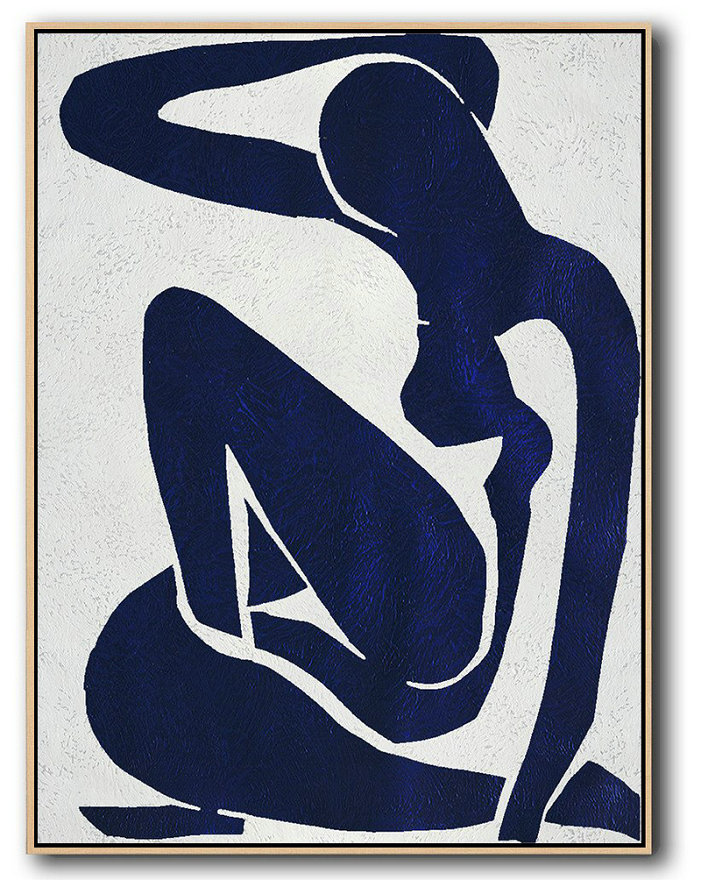 Extra Large Painting,Buy Hand Painted Navy Blue Abstract Painting Nude Art Online,Modern Canvas Art #M3K9