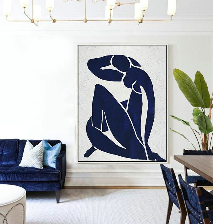 Extra Large Textured Painting On Canvas,Buy Hand Painted Navy Blue Abstract Painting Nude Art Online,Original Abstract Painting Canvas Art #E2T1