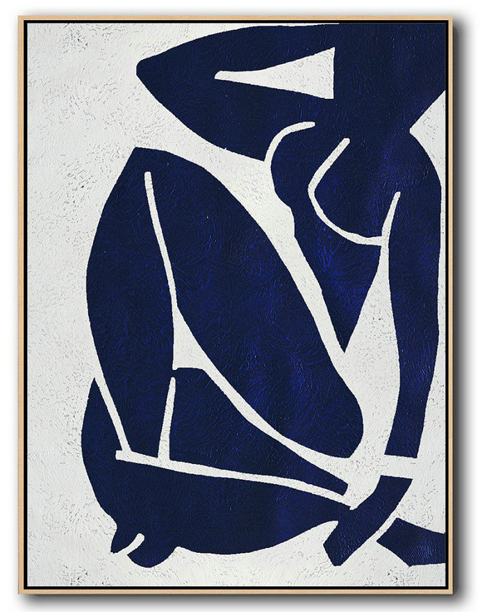 Oversized Canvas Art On Canvas,Buy Hand Painted Navy Blue Abstract Painting Nude Art Online,Extra Large Wall Art #I3C4