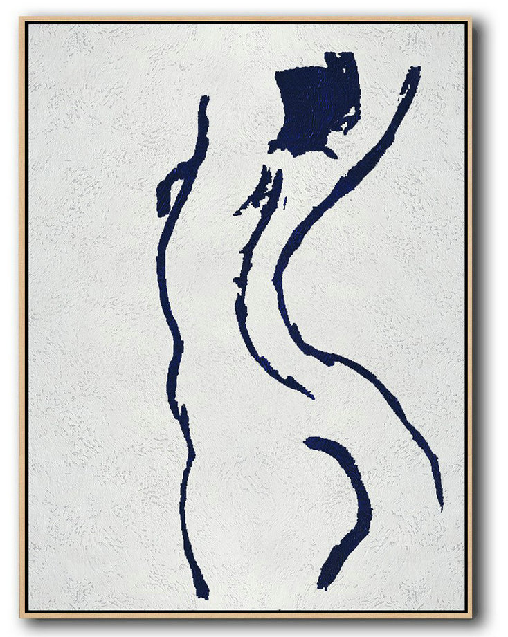Original Abstract Painting Extra Large Canvas Art,Buy Hand Painted Navy Blue Abstract Painting Nude Art Online,Original Abstract Painting Canvas Art #I3N4