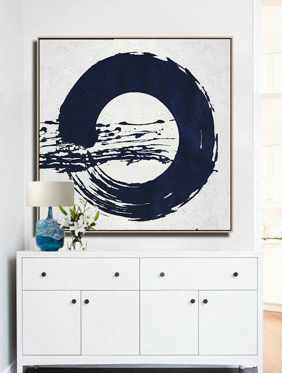 Handmade Extra Large Contemporary Painting,Hand Painted Navy Minimalist Painting On Canvas,Extra Large Wall Art #U6F3