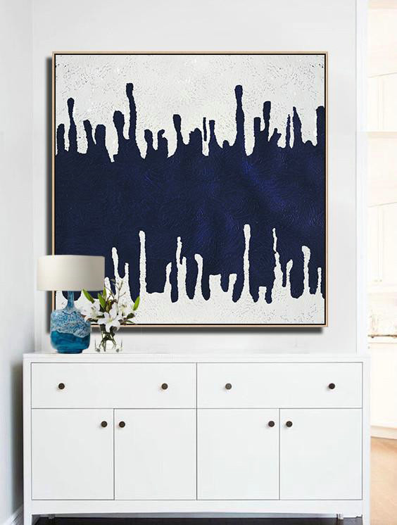 Extra Large Acrylic Painting On Canvas,Minimalist Navy Blue And White Painting,Large Abstract Art Handmade Acrylic Painting #F5W2