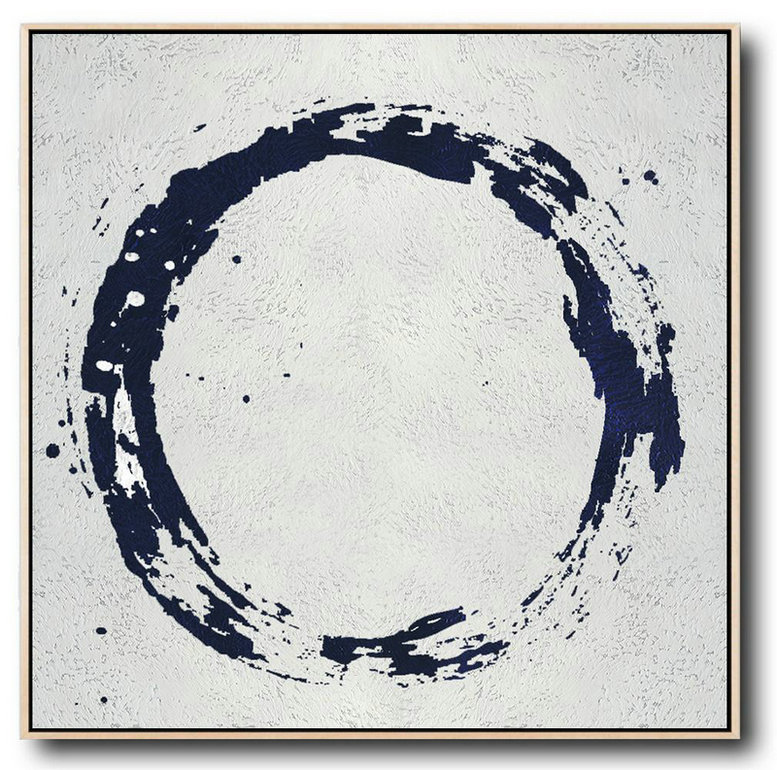 Original Extra Large Wall Art,Minimalist Navy Blue And White Painting,Hand Painted Aclylic Painting On Canvas #R6J3