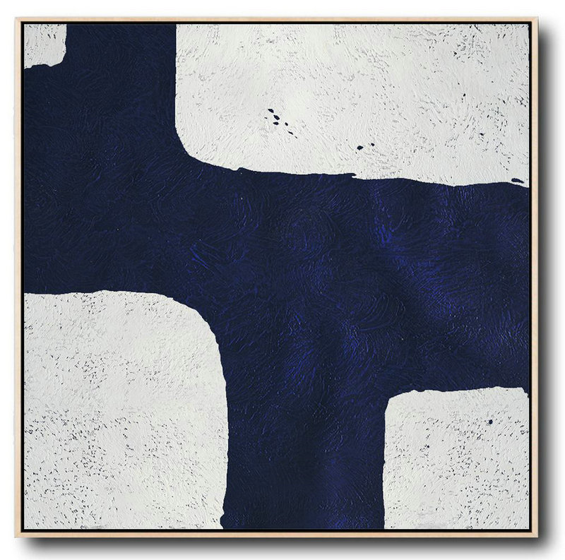 Large Abstract Art,Hand-Painted Oversized Minimalist Navy Blue And White Painting,Original Abstract Painting Canvas Art #Y2E1