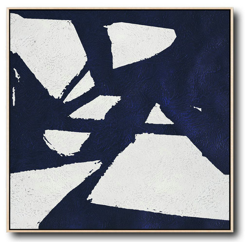 Handmade Large Contemporary Art,Minimalist Navy Blue And White Painting,Big Painting #A3Y9